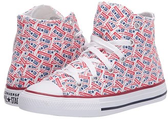 Converse Chuck Taylor(r) All Star(r) License Plate (Little Kid/Big Kid) (White/University Red/Rush Blue) Kid's Shoes