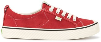 Cariuma OCA Low Stripe Samba Red Suede Contrast Thread Sneaker