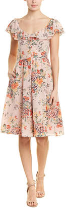 Rebecca Taylor Floral Ruffle Silk A-Line Dress