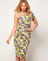 ASOS One Shoulder Pencil Dress in Floral Print