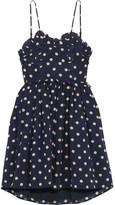 Balenciaga Ruffled Polka-dot Silk Crepe De Chine Mini Dress - Navy