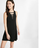 Express lace-up trapeze hem dress