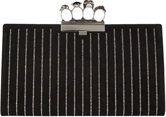 Alexander McQueen Skull Four Ring Crystal Leather Clutch
