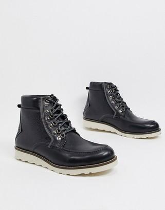 Original Penguin premium hiking boots in black leather