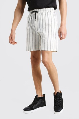 boohoo Mens Cream Elastic Waist Linen Look Stripe Short, Cream