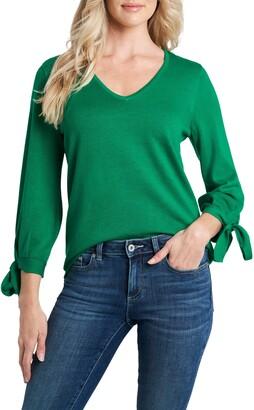 CeCe Tie Sleeve Cotton Blend Sweater