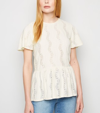 New Look Broderie Textured Peplum Top