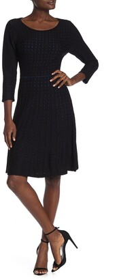 Nina Leonard Dot Pattern 3/4 Sleeve Sweater Dress