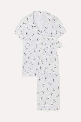 Eberjey Mermaids Printed Stretch-jersey Pajama Set - White