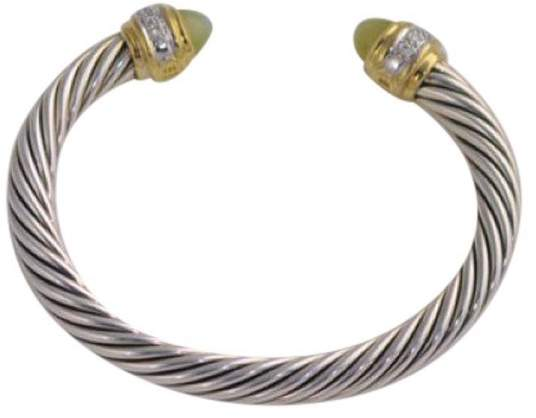 David Yurman Sterling Silver Opal Diamond Cable Bracelet Cuff