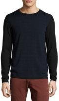 Armani Collezioni Jacquard-Front Crewneck Sweater, Navy