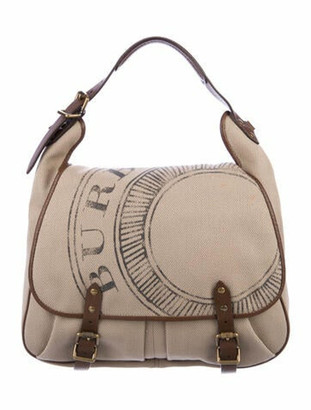 Burberry Leather-Trimmed Canvas Satchel Tan