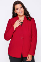 Yours Clothing Red Semi-Fitted Fully Lined Single Button Blazer Jacket