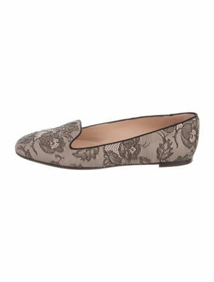 Valentino Lace Pattern Studded Accents Ballet Flats Black