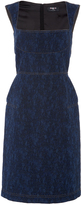 Paule Ka Sleeveless Denim Jacquard Dress with Top Stitch Detail