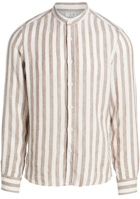 Brunello Cucinelli Banded Collar Striped Linen Sport Shirt