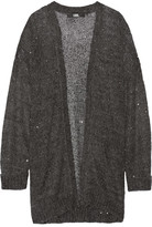 Karl Lagerfeld Sequin-embellished Knitted Cardigan - Charcoal