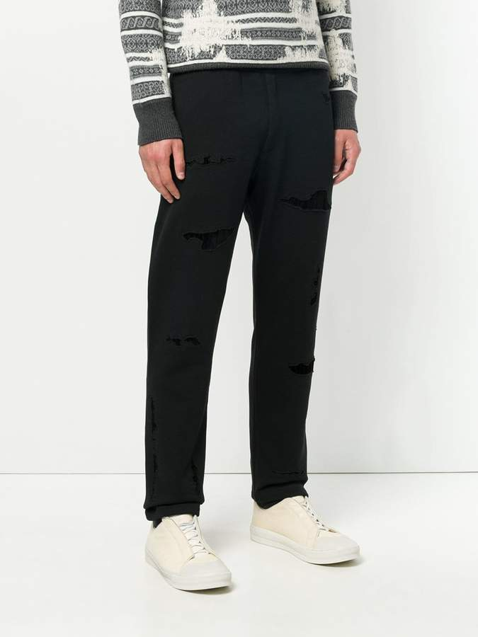Alexander McQueen distressed track pant