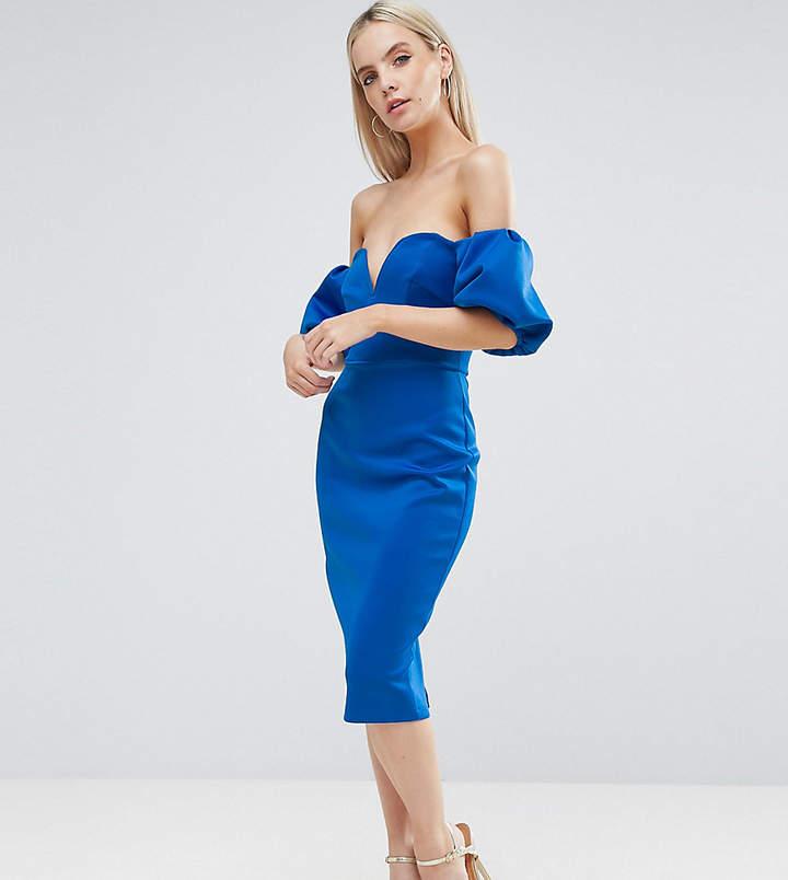 Asos Scuba Puff Sleeve Bardot Midi Dress