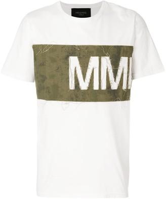Mr & Mrs Italy distressed logo panel T-shirt