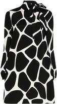 Valentino Pussy-Bow Cow-Print Dress