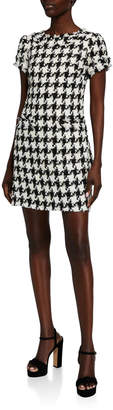 Sail to Sable Houndstooth Short-Sleeve Shift Dress