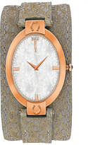Jivago Womens Good Luck White Faux Pearl & Light Brown Leather Strap Watch