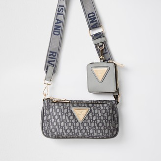 River Island Womens Grey pouchette RI monogram cross body handbag