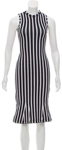 Victoria Beckham Striped Midi Dress