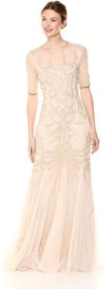 Adrianna Papell Women's Beaded Round Neck Elbow Sleeve Mermaid Long Dress