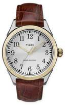 Timex Briarwood Terrace Men's 40mm Watch with Brown Leather Crocodile Embossed Strap