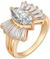 YAZILIND Crystal Oval White Ring Valentine's Present 18K Gold Plated Beauty Jewelry Size 9