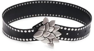 Isabel Marant Lowli Floral Buckle Studded Leather Belt