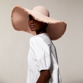 Love & Lore Love And Lore Fringed Straw Sun Hat Pink Sand