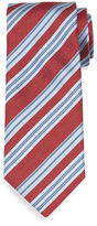 Brioni Textured Herringbone-Stripe Silk Tie, Red