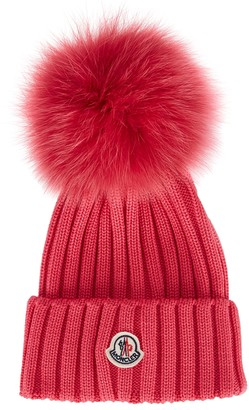 Moncler Bright Pink Pompom Wool Beanie
