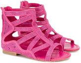 Cesare Paciotti Kids - embellished gladiator sandals - kids - Chamois Leather/Leather - 24