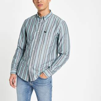 Lee Mens River Island Green stripe regular fit shirt
