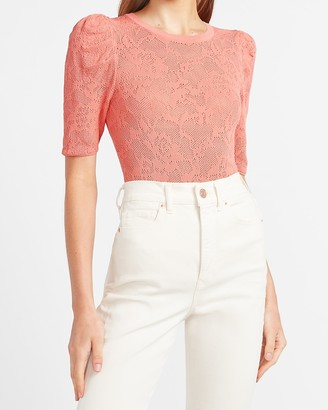 Express Lace Puff Sleeve Sweater