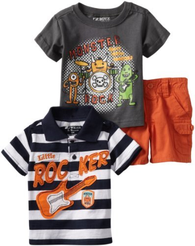 Nannette Boys 2-7 Three-Piece Little Rocker Short Set