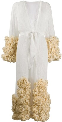 Dolci Follie Rose-Applique Lace Dressing Gown