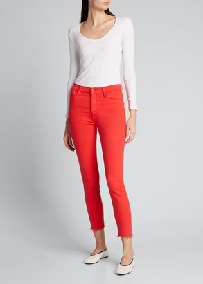 Mother The Stunner Ankle Frayed Straight-Leg Jeans