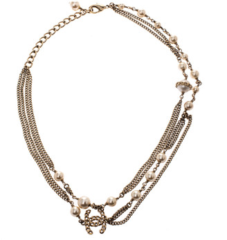 Chanel CC Faux Pearl Gold Tone Multi-layered Chain Link Necklace