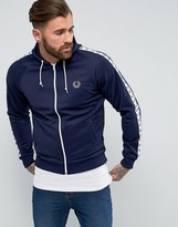 Fred Perry Sports Authentic Hooded Taped Track Jacket in Navy