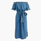 J.Crew Tall off-the-shoulder chambray dress with tie waist