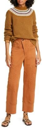 Sea Kali Zigzag Stitch Crop Denim Pants