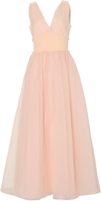 True Decadence Soft Peach Tulle Full Length Gown