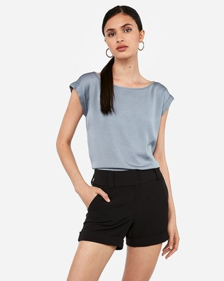 Express Mid Rise Cuffed Dress Shorts