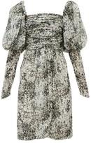 Giambattista Valli Floral-print Puff-sleeve Silk-chiffon Dress - Womens - Black White
