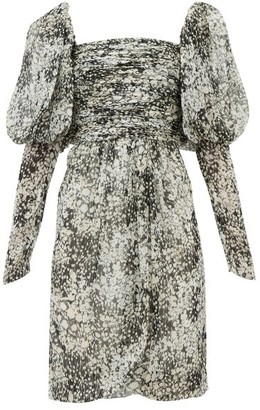 Giambattista Valli Floral-print Puff-sleeve Silk-chiffon Dress - Black White
